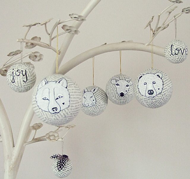 adornos navideños de papel - bolas de papel