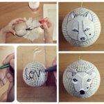 adornos navideños de papel - bolas pintadas