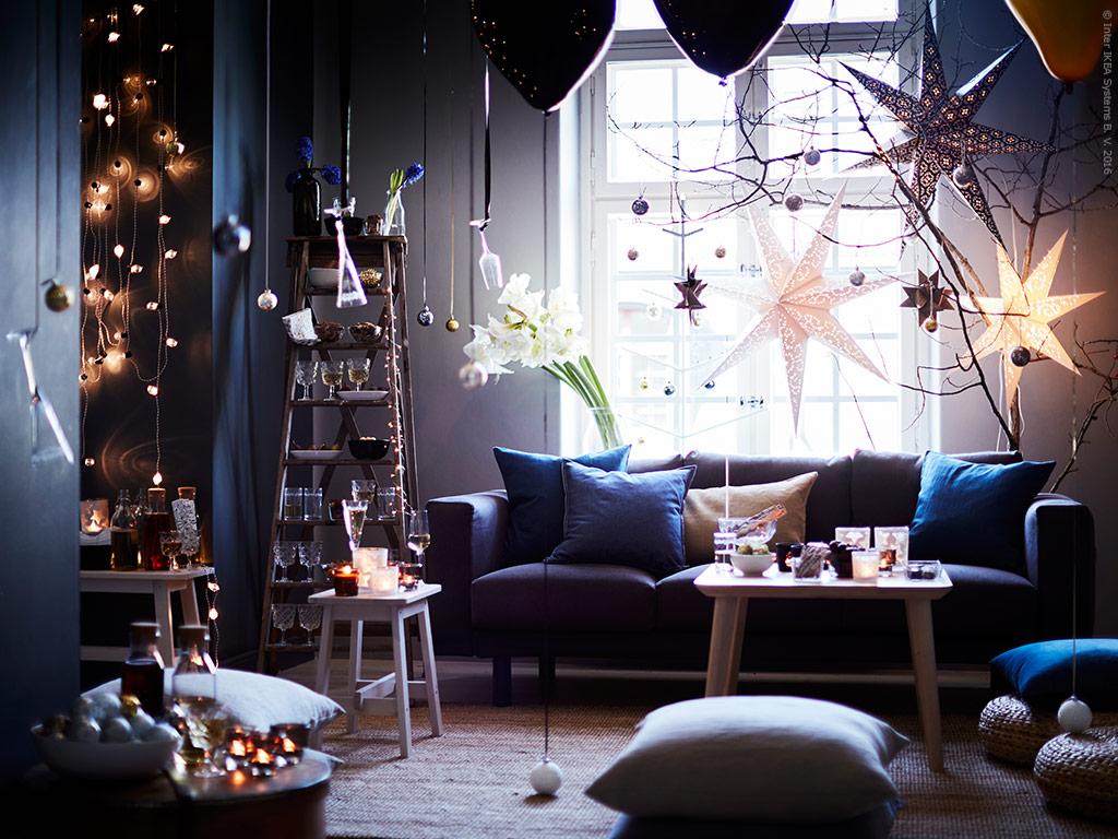 decoración de Navidad online - salón con estrellas