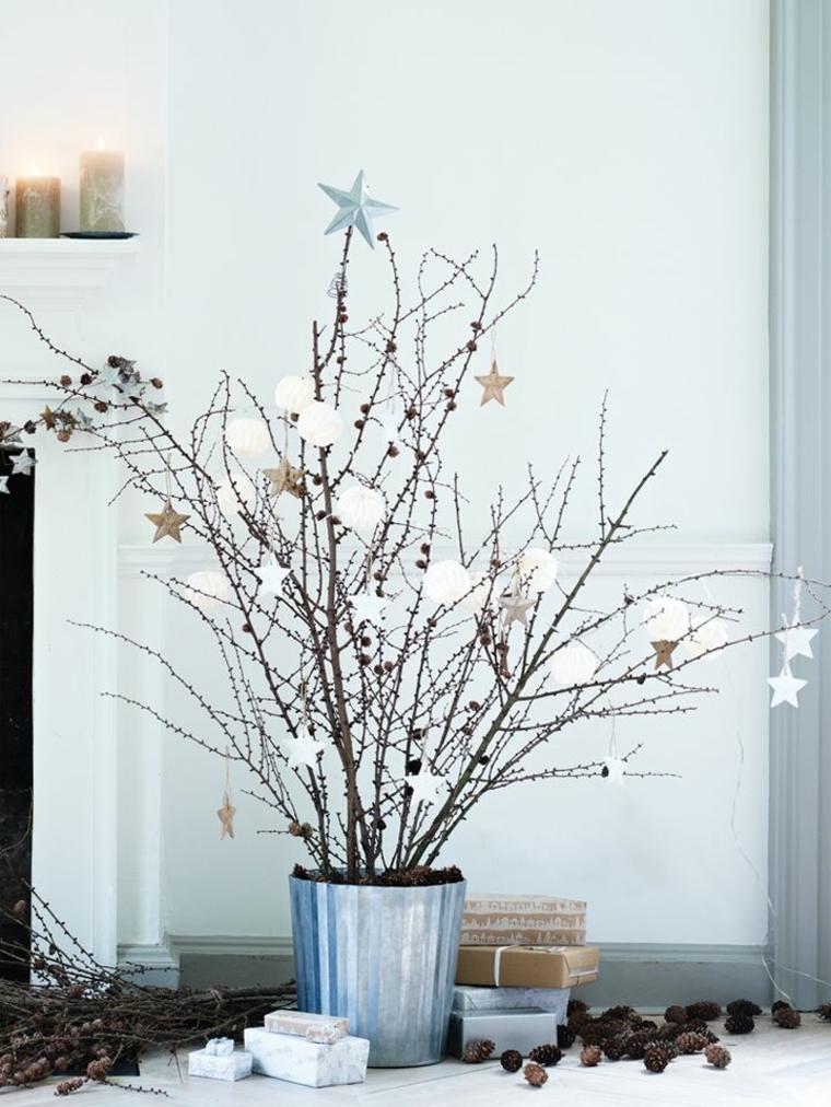 decoración de Navidad casera con velas