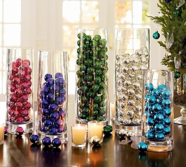 decoración de Navidad casera con bolas