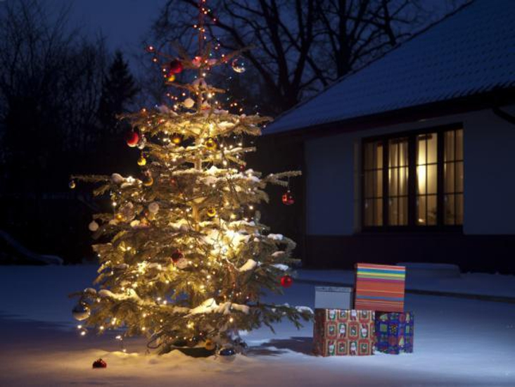 adornos navideños para exteriores - banderas