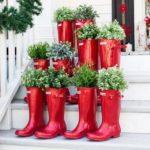 adornos navideños para exteriores - botas de agua
