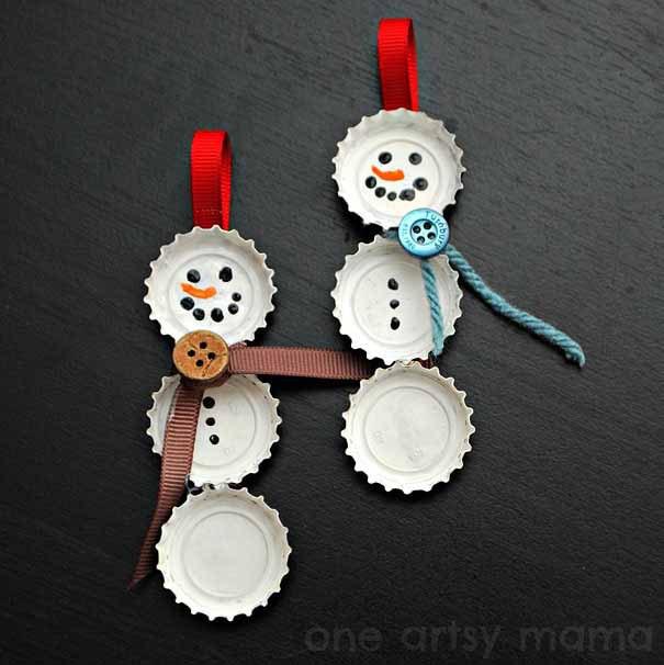 decoraciones de navidad - chapas de botellas