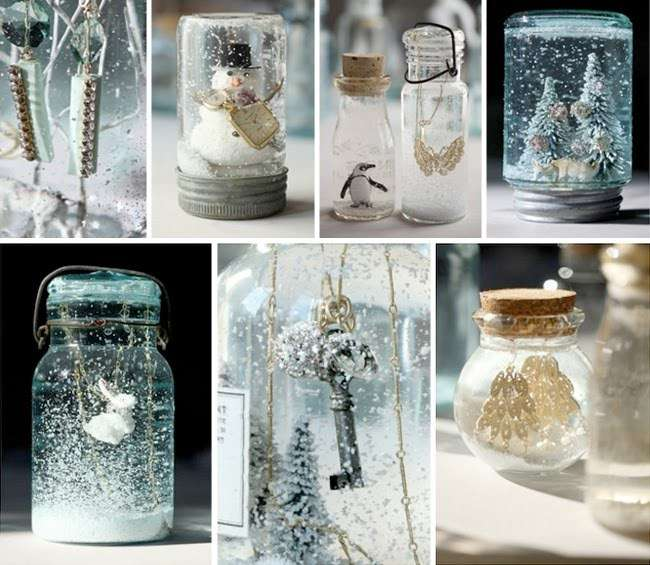 manualidades de Navidad - frascos de cristal