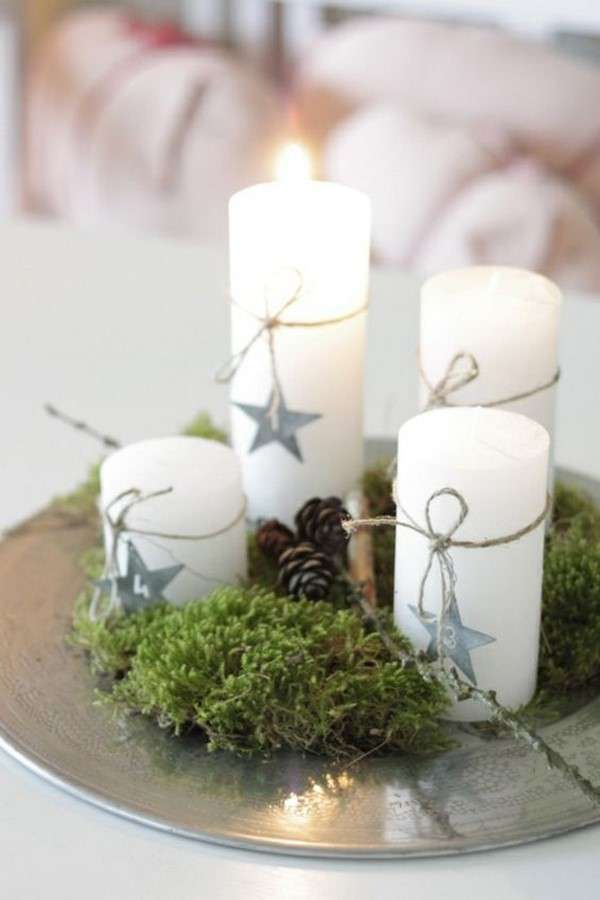 Centros de mesa - Bandeja con velas de diferentes tamaños