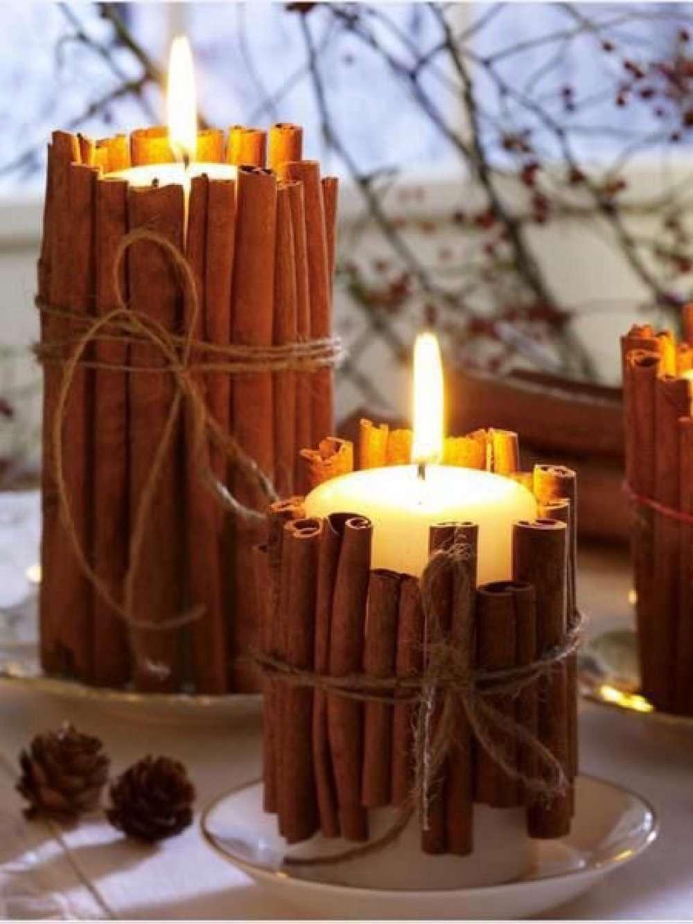 Centros de mesa - Velas con ramas de canela