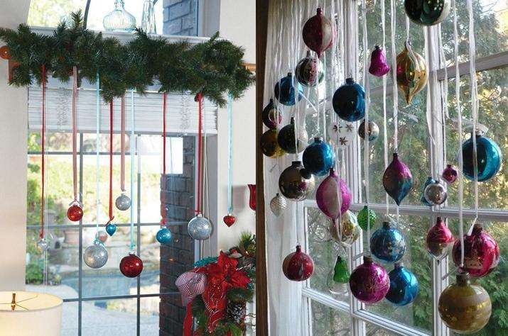 Adornos de Navidad en las ventanas