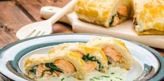 Recetas fáciles - Salmón en hojaldre con crema de espinacas