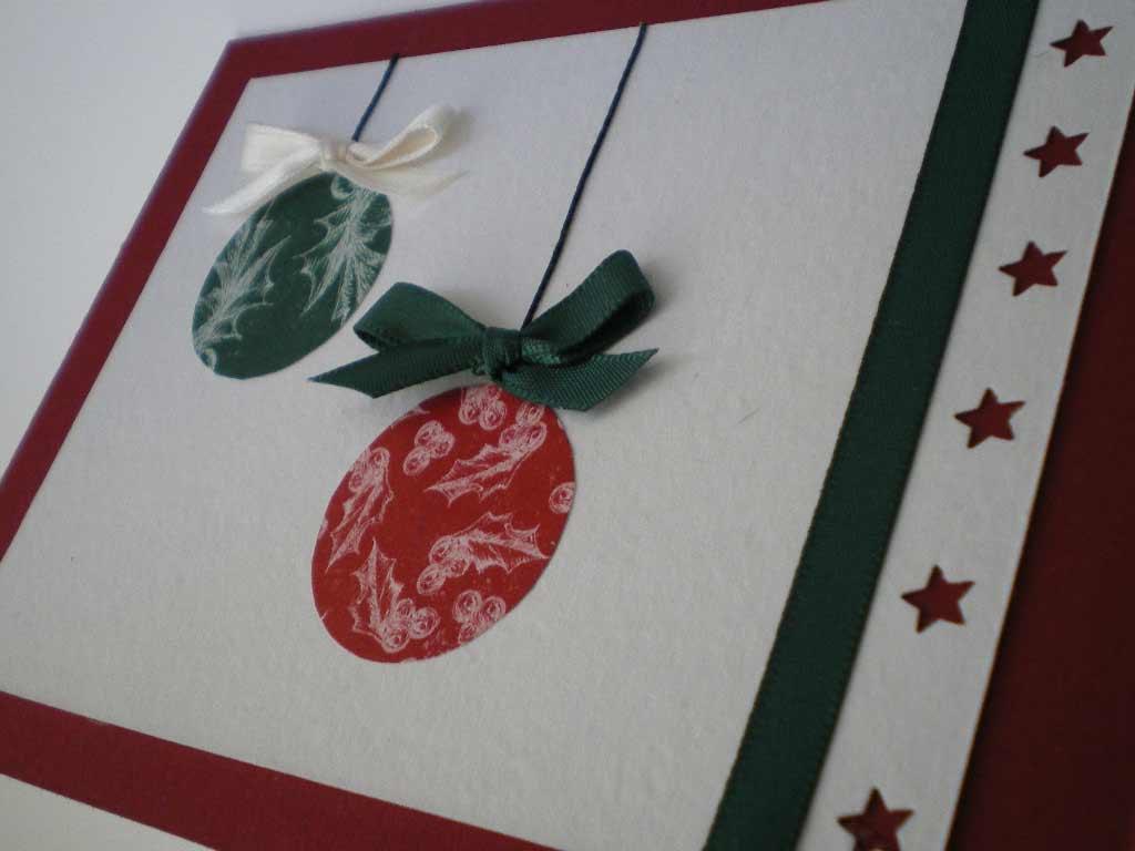 Tarjetas de felicitación de Navidad con bolas navideñas