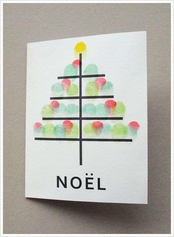 Tarjetas de felicitación de Navidad con huellas