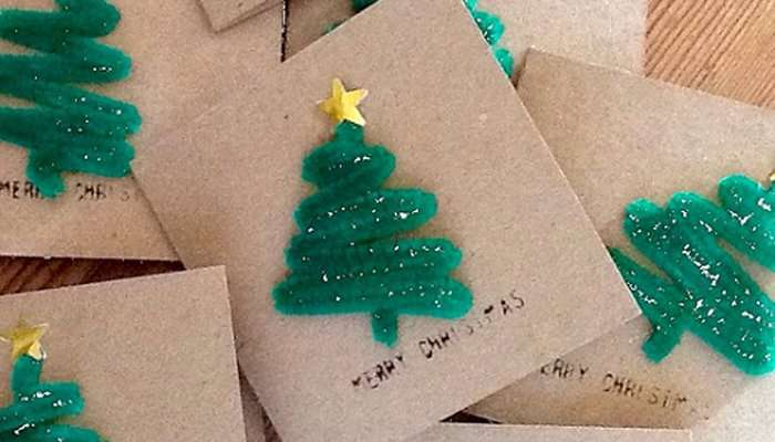 Tarjetas de felicitación de Navidad con un árbol de Navidad