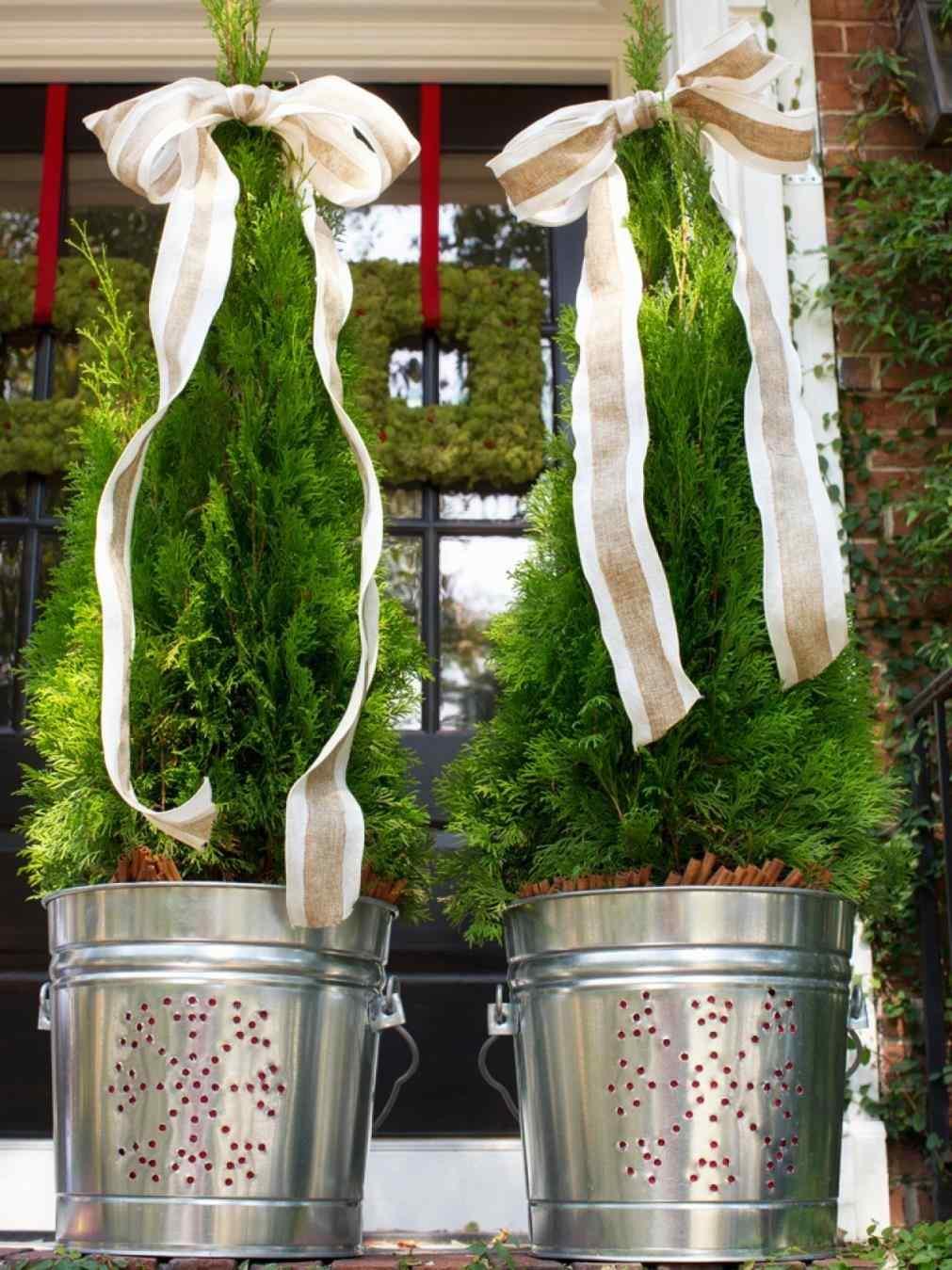 jardines navideños - maceteros metálicos