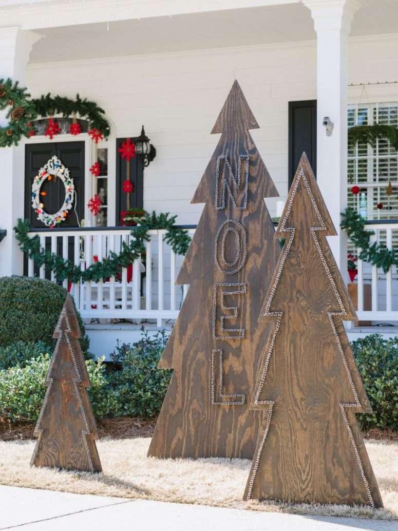 jardines navideños - árboles de madera