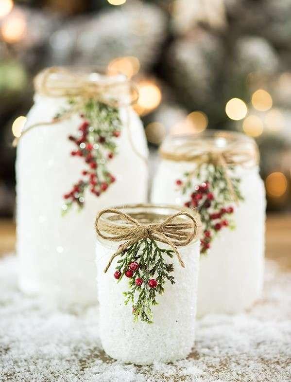 adornos de Navidad con tarros de cristal