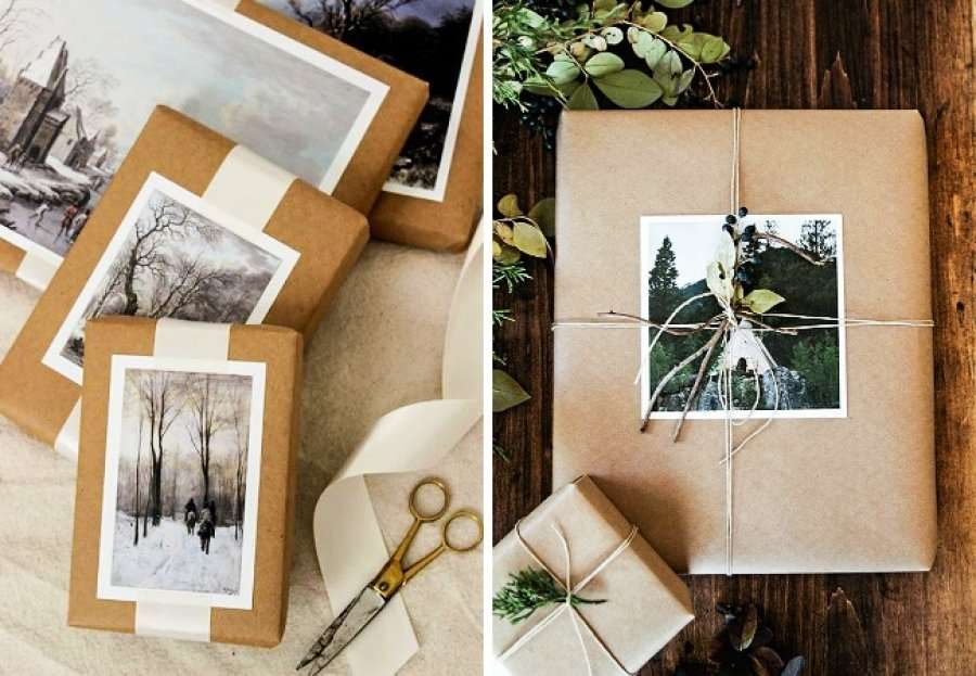 celebrar la Navidad - envoltorios con fotos