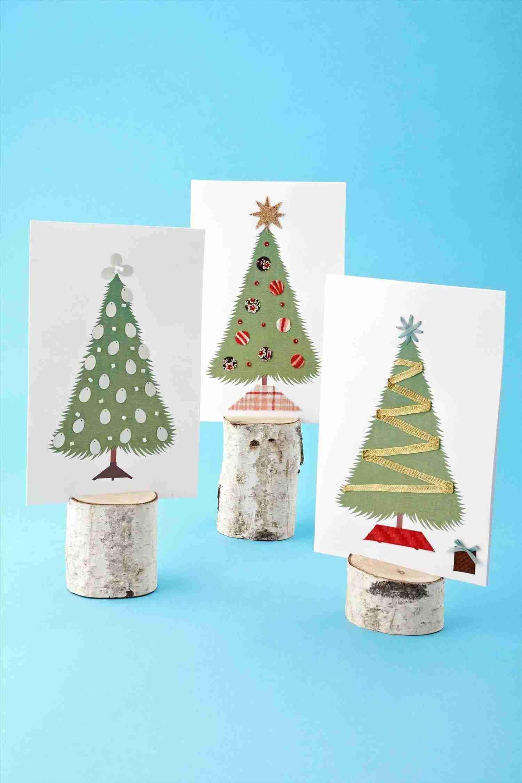 Felicitaciones de Navidad - árboles de tela