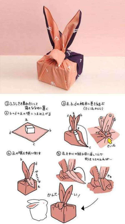 Diferentes maneras de envolver regalos con Furoshiki 5